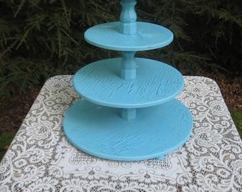 Wedding Cupcake Stand, Turquoise Blue Cupcake Stand, Cake Stand, Wood Cupcake Stand, 4 Tier Cupcake Stand, Shabby Chic Wedding,Cupcake Tower