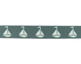 1 m Rubber Band sailing ships-40 mm wide-grey-white
