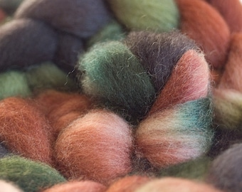 Hand dyed Falkland wool top,  4oz in Woodland