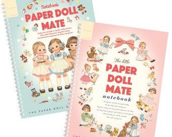 2 Paper Doll Mate ring notebooks, made in Korea, cute notebook, scrapbooking