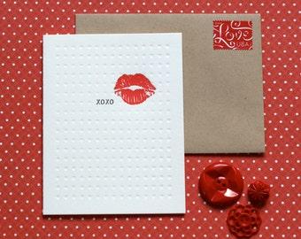 XOXO Kiss - letterpress card