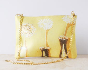 Eco-friendly Leather Clutch, 'Yellow Still Life' by Sara Cavallaro