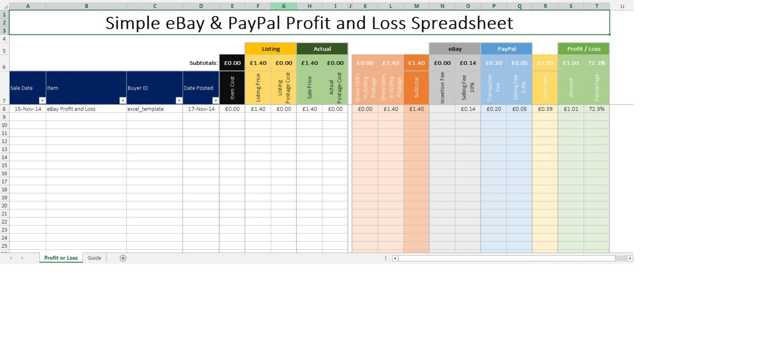 🔎zoom  Profit And Loss Spreadsheet Template