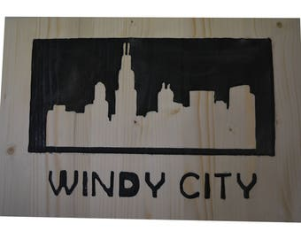 Carved Chicago Skyline