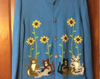 Blue Button Down Cat Sweater With Flowers L