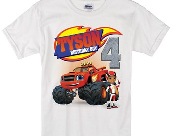 Blaze and monster machines long sleeve and Short Sleeve Birthday Shirt Custom personalized shirts for all family,
