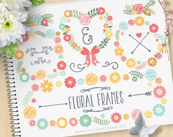 Spring Floral Frame Clipart, Wreaths, Valentine, Boho flowers, Wedding Clipart, Mother's Day, Commercial Use, Vector clip art, SVG Cut Files