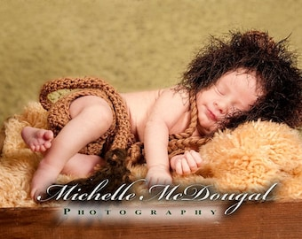 Newborn Lion Hat and Diaper Cover Set Photo Prop, Newborn Baby Lion Costume