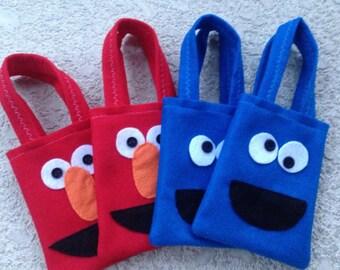 ELMO PARTY/ Plaza sesamo/ Felt party bags Set of 10 party favor/ party supplies/cookie monster