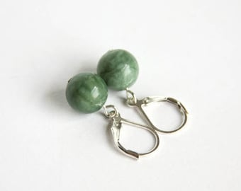 Spring Jasper Earrings Sterling Silver Smooth Round Lever Back Leverback Natural Stone Marbled Green Earrings Moss Green Jasper #17566
