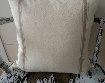 Grain Sack Pillow Cover | Tan Striped Pillow Cover | Ticking Striped Pillow Cover | Zippered Pillow Cover | Tan 3 Stripe
