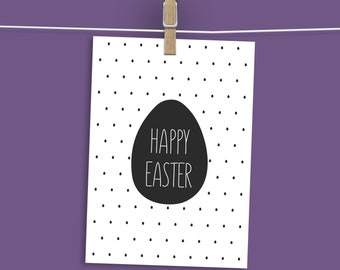 Download Easter Card, Happy Easter Printable Card, Black and White Easter Card, Digital Happy Easter Card, Mint Easter Card