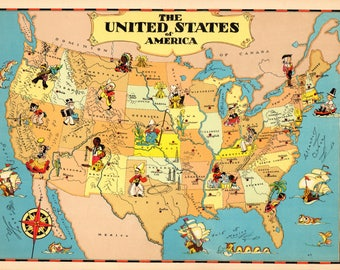 1930's Vintage UNITED STATES Picture Map Cartoon Map usa Print Childrens Room Decor Map Collector Gift for Traveler Birthday Wedding RT