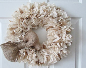 """Burlap and Muslin Rag Wreath with Bow, Rustic Decor, Beach Decor, Neutral Wreath, Burlap Wreath, Rustic Wedding Round 20"""""""