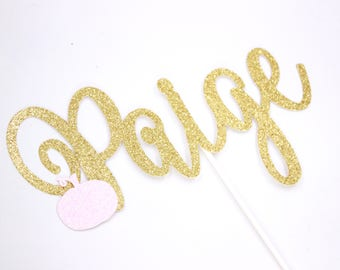 Personalized Pumpkin Name Cake Topper, Our Little Pumpkin Cake Topper, Little Pumpkin Cake Topper, Gold and Pink Cake Topper, Fall Birthday