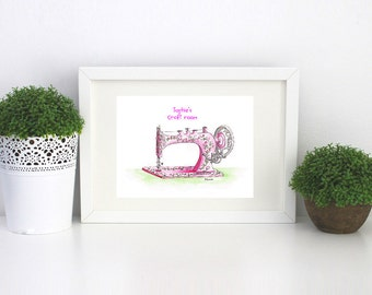Sewing Machine watercolor painting art print in pink wall art for sewing craft room old singer sewing machine artwork watercolor wall art