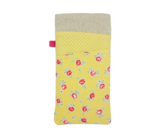 Rose iPhone X Sleeve,  iPhone 8 Plus Case, SE iPhone Case, iPhone 7 Pouch Floral, Yellow Fabric iPhone Pouch