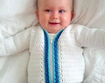 Crochet Pattern for Baby Cardigan Sweater, Cherise Cardigan PDF14-128B INSTANT DOWNLOAD
