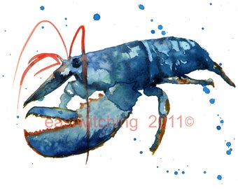 LOBSTER Print, watercolour lobster