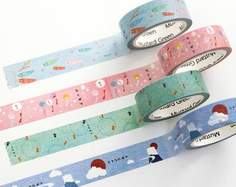 Japanese Style Washi Tapes - Masking Tape - Japanese Washi Tape - Paper Tape - Decorative Tape - Planner Tape - Scrapbooking Tape