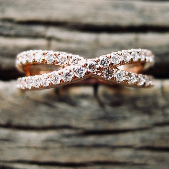 Infinity Symbol Sign Wedding Ring in 14K Rose Gold with