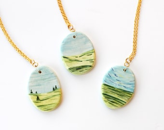 Landscape Paintings - Ceramic Charm Necklace