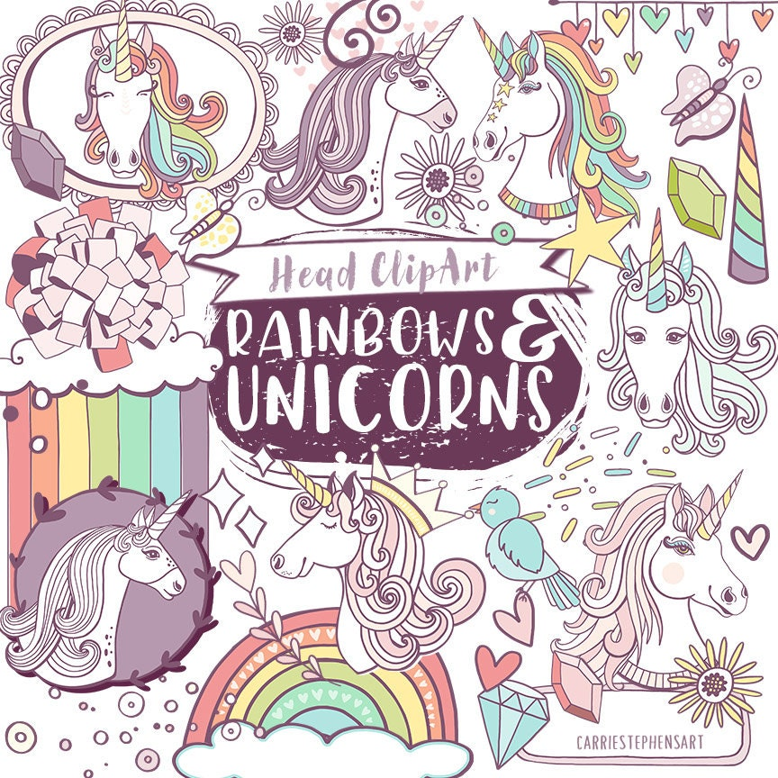 Rainbow Unicorn ClipArt PNG Download Heads Magical