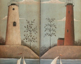 Rustic Red, White Lighthouse Sailboat Prints. Ocean beach cottage nautical New England style prim folk art by Donna Atkins. Free shipping.