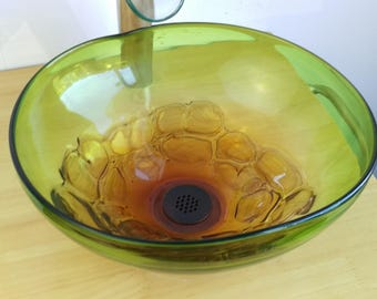 15in Bathroom Vessel Sink Hand Blown Art Glass Green Opaque Orange Modern  Contemporary + Drain Colorful
