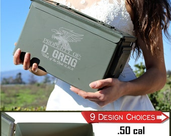 Free Shipping, Bride to Groom Gift, Gift for Groom, Personalized, .50 cal Ammo Can, Gift for Groom from Bride, Wedding Day gift