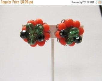 On Sale Vintage Orange Green and Black Beaded Cluster Earrings Item K # 469