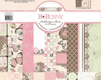 Bo Bunny Primrose Collection Pack - Primrose Paper - 12x12 - Card Stock Paper - Cardstock Paper - Pink And Blue Cardstock - Primrose - 4-084