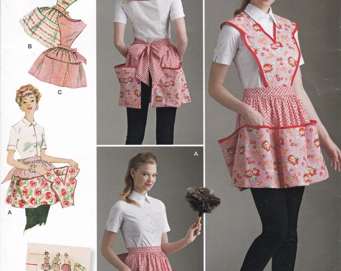 FREE US SHIP Vintage 50's Sewing Pattern Simplicity D0830 8533 Detachable Bib Apron Lots of Pockets One Size  Folded Reproduction