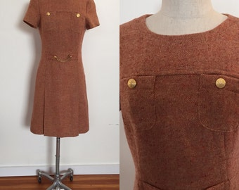 Orange and rust mod wool tweed mini dress