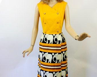 Vintage 70s Wrap Maxi Dress by Swirl Yellow Gold Cotton w White Elephant & Stripe Print Long Skirt Bust 38