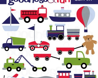 Buy 2, Get 1 FREE - Transportation Time Clipart - Digital Transportation Clipart - Instant Download