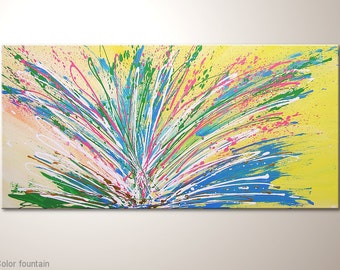 "Colorful and dynamic fine art painting""Color fountain""Multicolor energetic canvas art on canvas. 39x20 inches on frame. Acrylic wall hanging"