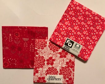 3 Fat Quarters - Fabric Quarters, Pretty Red Prints for sewing, quilting