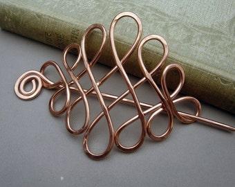 Large Celtic Looping Cross Knots Copper Hair Pin, Hair Barrette, Hair Slide, Hair Clip, Shawl Pin, Long Hair Accessories, Women Gift for Her