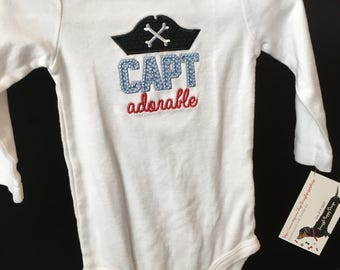 Captain Adorable appliqué baby onesie or dress, Pirate outfit, baby clothes,  Nautical baby clothes, newborn romper creeper shirt, new baby