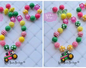 Tractor necklace Green Tractor Chunky Necklace Pink Tractor Bubblegum necklace Country Farm Girl John inspired Chunky Bubblegum Necklace