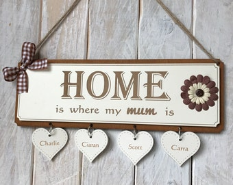 Personalised Family Gift Plaque - Home is Where my Mum is