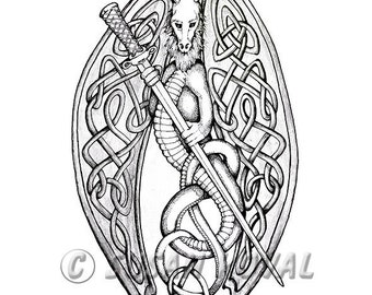 CELTIC DRAGON digital reproduction w/free shipping