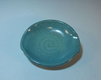Spoon Rest Kitchen Blue Green Stoneware - Handmade Pottery