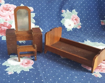 Strombecker Dollhouse Bedroom Furniture Bed Vanity and Bench Art Deco Furniture Wood Walnut