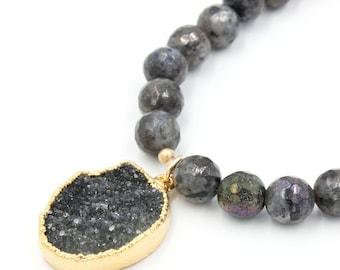 Della Druzy Labradorite Beaded Necklace   Grey Druzy Necklace   Beaded Pendant Necklace   Charcoal Grey Jewelry