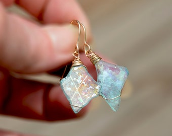 Iridescent Roman Glass Earrings Gold Filled Earrings Roman Glass Jewelry Handmade Earrings Handmade Jewelry Free Shipping from Israel