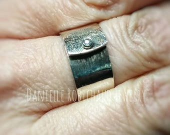 Handmade Sterling silver ring, Sterling silver ring, wide band ring, bezel set ring, cubic zirconia ring, riveted ring, Drobichaudjewelry