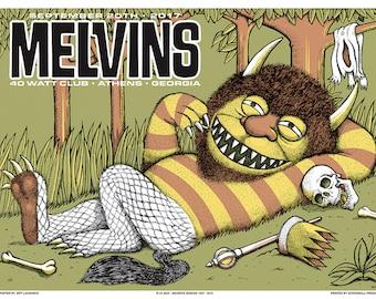 Melvins printed silkscreen concert poster.