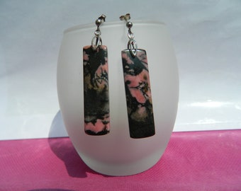 Handmade 925 Silver earrings and rectangular black and pink Rhodonites
